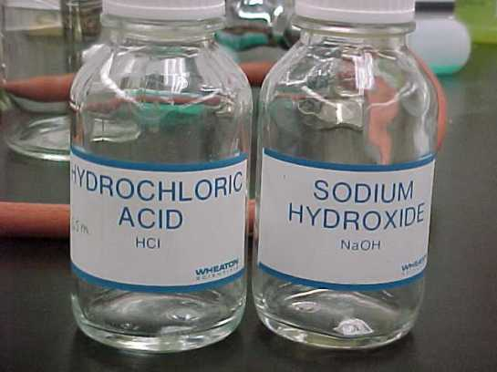 HCl dan NaOH (Asam klorida dan Natrium hidrooksida